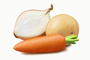 Vegetables: onion, carrot, potato isolated on white background